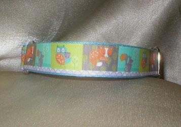 Halsband, Martingale, Hund, 2,5cm breit mit Borte, Waldtiere