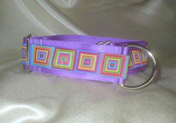 Zugstopp, Halsband, 4 cm, Gurtband eisblau, Borte in strahlenden Sommerfarben