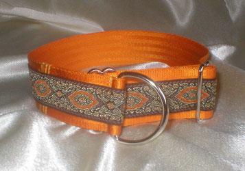 Zugstopp, Halsband, 4 cm, Gurtband goldorange, edle Borte