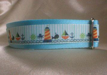 Halsband, Hund, Zugstopp 4cm breit, Gurtband eisblau, Borte See- und Strandmotive