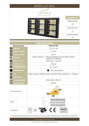 Datenblatt Infrarotheizung APOLLO XXL Werkstatt Heizung