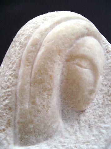 PIETA   (détail)  marbre des Pyrénées  60cm