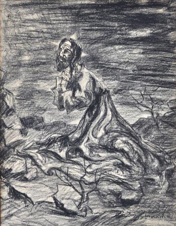 Em Oeliden Christus expressiv Kohle auf Papier