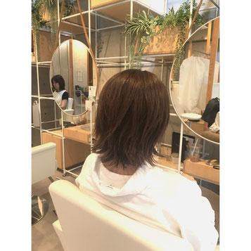横浜 石川町 美容室 Grantus セミロング レイヤースタイル グレージュカラー レディブラウン ハイライト ミディアムスタイル 大人カラー