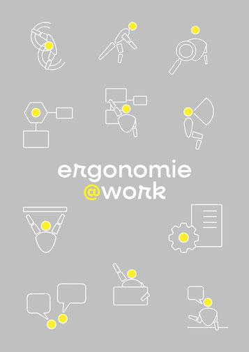 Icons mit verschiedene Bereiche der Ergonnomie