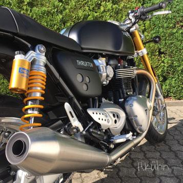 Bildschön und ab sofort im MotorradCenter: Thruxton R, mattschwarz