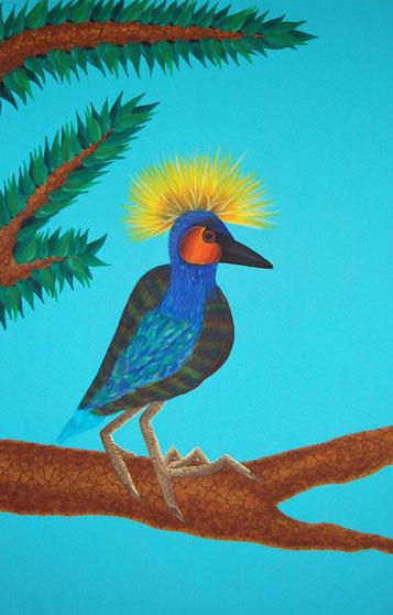 Oiseau perché, 2012, Oil & Acrylic on canvas, 175 x 115 cm, Private collection