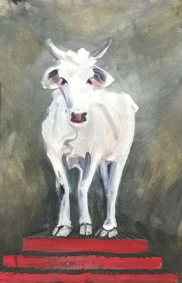 Die weisse Kuh von Rajgir, Mischtechnik auf Papier,                              30 cm x 40 cm, 2019