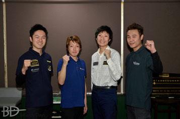 左から、西尾祐、嶋野聖大、渡辺剛史、菅谷慎太郎