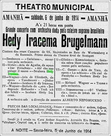 Konzertankündigung eines Konzertes am 6. Juni 1914 in Rio de Janeiro