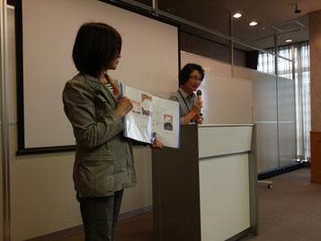 교류회관 회의실에서 구마모토 견학 전 성의 역사에 대해 소개하고 있는 DisKuma