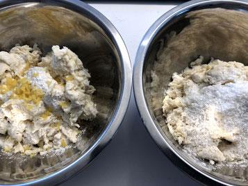 Die getrennten Massen mit Zitronenzesten oder Kokosnuss parfümieren