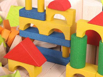 Holzspielzeug-Beck Fröbelbausteine Ergänzungsset Farbig gebeizt