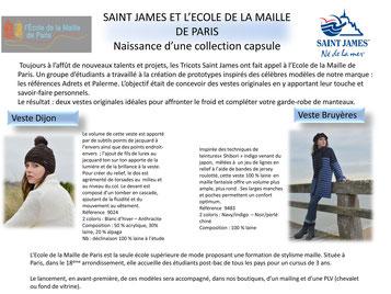 concours partenariat St James, pull marine, mode fashion, maille tricot école de la maille de paris, stylisme