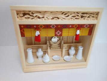 唐戸箱宮+ご神鏡(中)+セトモノ神具(小)