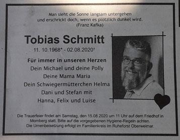 Wir trauern um Tobias Schmitt - Vorstandsmitglied im Sängerkreis Wohratal
