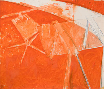 Studie Ateliertisch (199) 1987 Ölfarbe, Fettkreide 135 x 175 cm