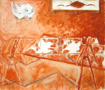 Studie (Zwie) 1987 Ölfarbe, Fettkreide 135 x 157,5 cm