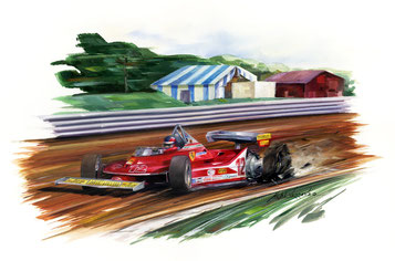 gilles villeneuve ferrari grand prix  art painting illustration