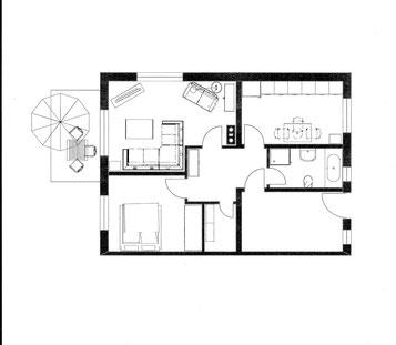 Wohnung ca. 60 qm, Terrasse ca.14qm