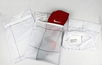 Recycling Tasche von Nike, wurde von Reciclage in Handarbeit genäht. Jedes Nike Unikat wird als nachhaltiges Werbemittel im store seinen Kunden angeboten.