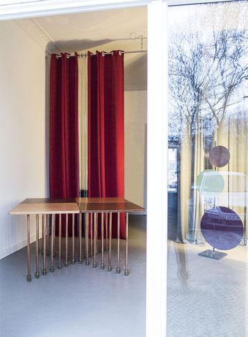 Tavolo MILLEPIEDI, A.F.Borzacchini design, reclaimed table tops, reuse, copper pipe legs, calf leather cover