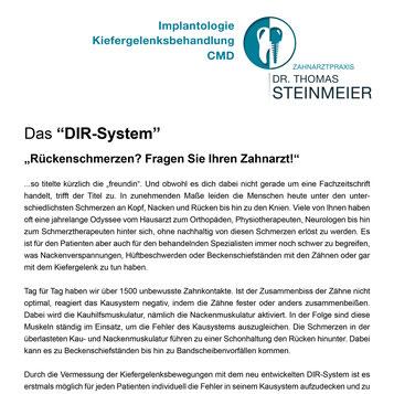 Dr. Thomas Steinmeier Zahnarztpraxis Oeynhausen Zahnarzt Zahnerhalt Zahnheilkunde OWL CMD-Therapie