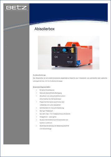 Kurt Betz GmbH Datenblatt Abisolierbox Sondermaschinenbau Kabel Crimp Automatisierungstechnik Leingarten