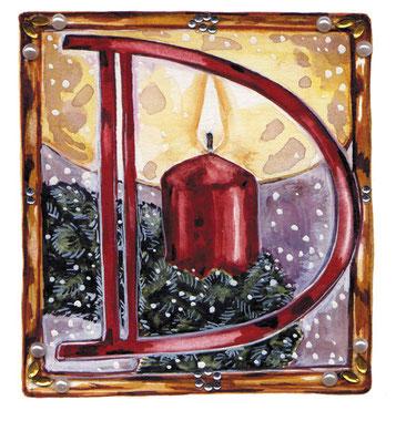 Advent Buchmalerei Kerzenlicht