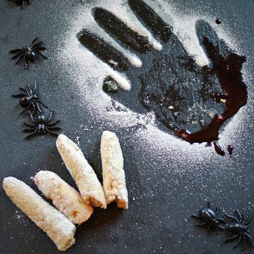 Abgeschnittene Finger aus Marshmallow für Halloween