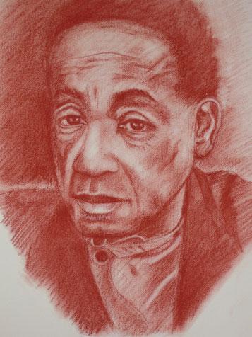 Portrait, Rötel, Zeichnung, Männerportrait, gezeichnet