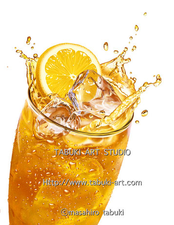NRD2954レモンティー アイスレモンティ リアルイラスト 氷 水飛沫