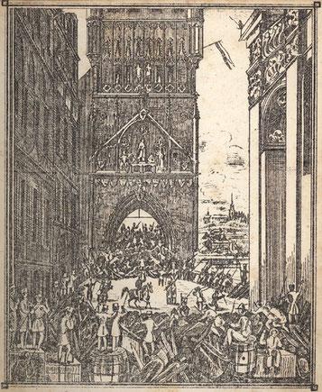 """Wie sich die Bilder gleichen - Barrikadenkämpfe am Brückenturm der """"Prager Brücke"""" (spätere Karlsbrücke) während des Prager Pfingstaufstands im Revolutionsjahr 1848 - Heute sind es Touristen (Bild: wikipedia)"""