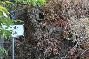 Gartenabfall, Sträucher, Rasenschnitt, Laub, Äste