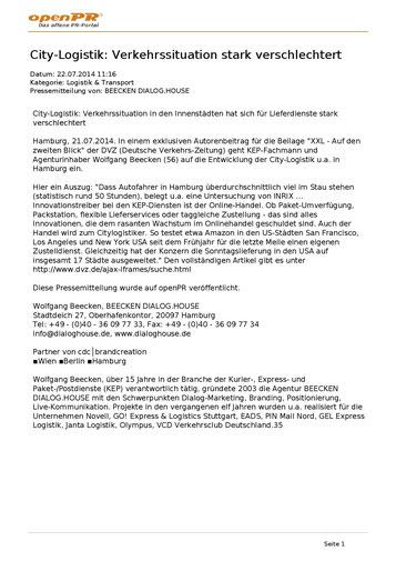 openPR Presse-Portal 22.07.2014