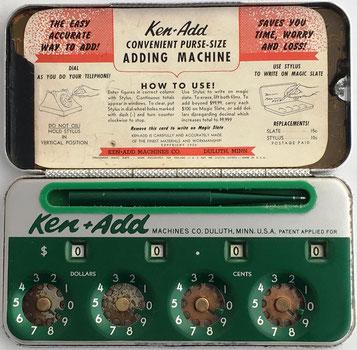 Sumadora (ábaco de círculos) KEN+ADD adding machine con instrucciones de uso, hecha en Duluth, Minnesota, USA, año 1950, 13x13 cm (abierta)