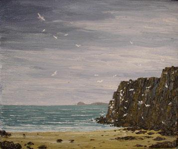 Möwen auf Gower (Öl auf Leinwand, 18 x 22 cm, verkauft)