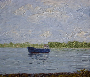 Kutter kurz vor Hamburg (Öl auf Leinwand, 9,2 x 11 cm, verkauft)