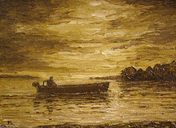 Motorboot im Morgenlicht (Öl auf Leinwand, 10 x 14 cm, verkauft)