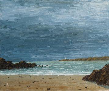 Walisische Küste (Öl auf Leinwand, 18 x 22 cm, verkauft)