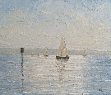 Boote im Gegenlicht (Öl auf Leinwand, 12 x 14 cm, verkauft)