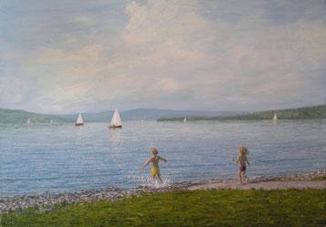 Kinder am Bodensee bei Allensbach (Öl auf Leinwand, 50 x 70 cm, verkauft)