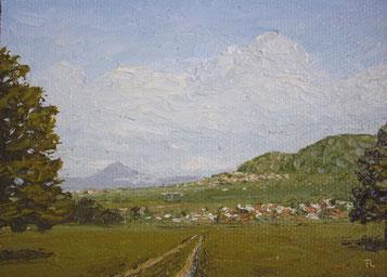 Blick auf Weilheim/T. und Aichelberg (Öl auf Leinwand, 10 x 14 cm, verkauft)