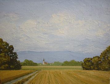 In der Rheinebene bei Kork (Öl auf Leinwand. 12 x 16 cm, verkauft)