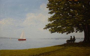 In der Malerecke/Langenargen (Öl auf Leinwand, 42 x 68 cm, verkauft)