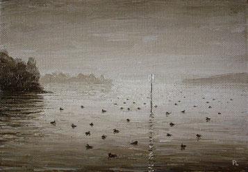 Versammlung im Morgendunst, Öl auf Leinwand, ca.17 x 25 cm, verkauft)