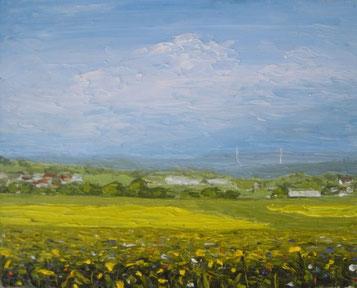 Blumenwiese und Rapsfelder (Öl auf Leinwand, 12 x 15 cm)