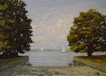 Slipanlage am Untersee (Öl auf Leinwand, 10 x 14 cm, verkauft)