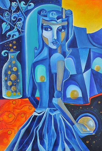 Eine Frau sammelt Sternschnuppen ein.