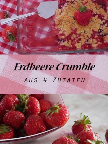 erdbeere, crumble, crumble mit erdbeeren, sommer nachtisch, backen mit erdbeeren